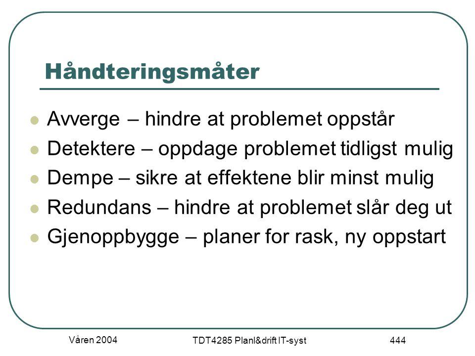 Våren 2004 TDT4285 Planl&drift IT-syst 444 Håndteringsmåter Avverge – hindre at problemet oppstår Detektere – oppdage problemet tidligst mulig Dempe –