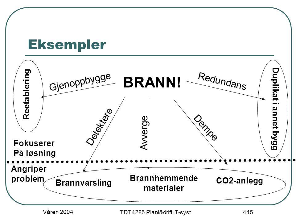 Våren 2004 TDT4285 Planl&drift IT-syst 445 Eksempler BRANN! Brannvarsling Brannhemmende materialer CO2-anlegg Detektere Avverge Dempe Reetablering Dup