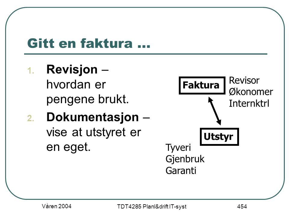 Våren 2004 TDT4285 Planl&drift IT-syst 454 Gitt en faktura... 1. Revisjon – hvordan er pengene brukt. 2. Dokumentasjon – vise at utstyret er en eget.
