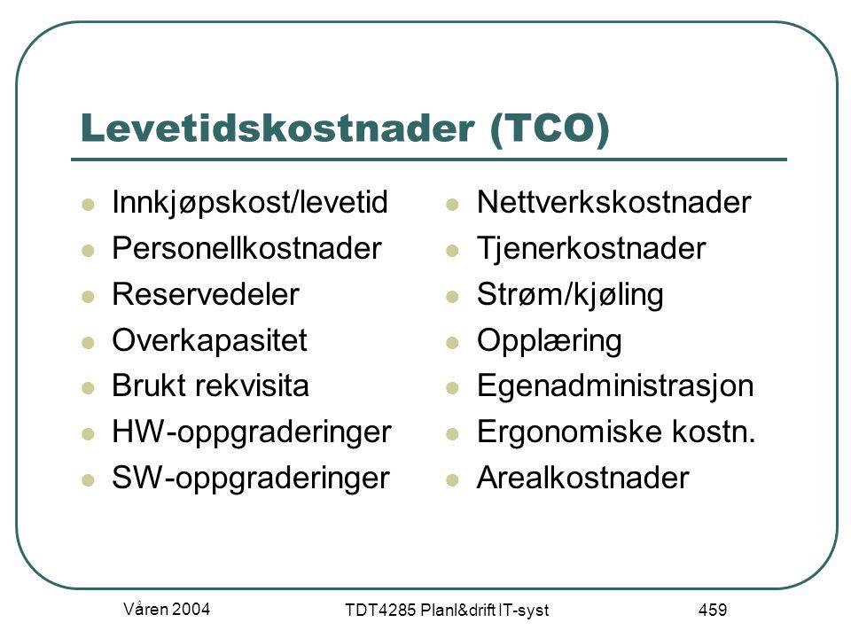 Våren 2004 TDT4285 Planl&drift IT-syst 459 Levetidskostnader (TCO) Innkjøpskost/levetid Personellkostnader Reservedeler Overkapasitet Brukt rekvisita
