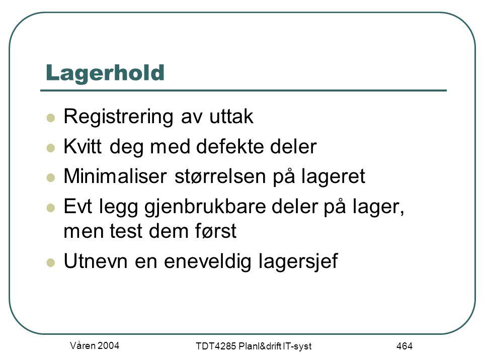 Våren 2004 TDT4285 Planl&drift IT-syst 464 Lagerhold Registrering av uttak Kvitt deg med defekte deler Minimaliser størrelsen på lageret Evt legg gjen