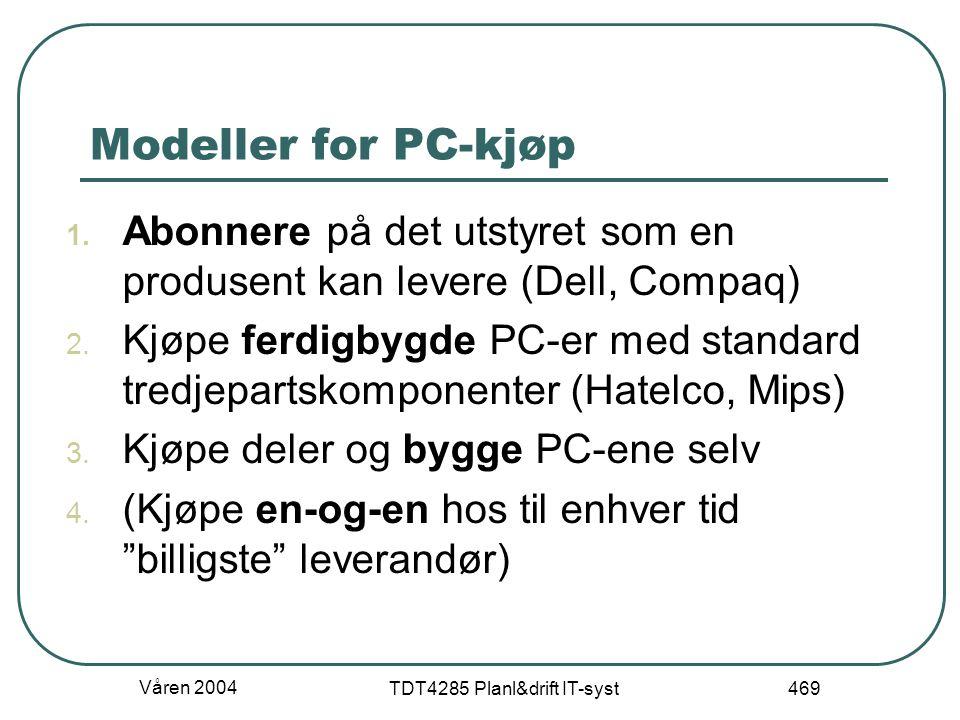 Våren 2004 TDT4285 Planl&drift IT-syst 469 Modeller for PC-kjøp 1. Abonnere på det utstyret som en produsent kan levere (Dell, Compaq) 2. Kjøpe ferdig