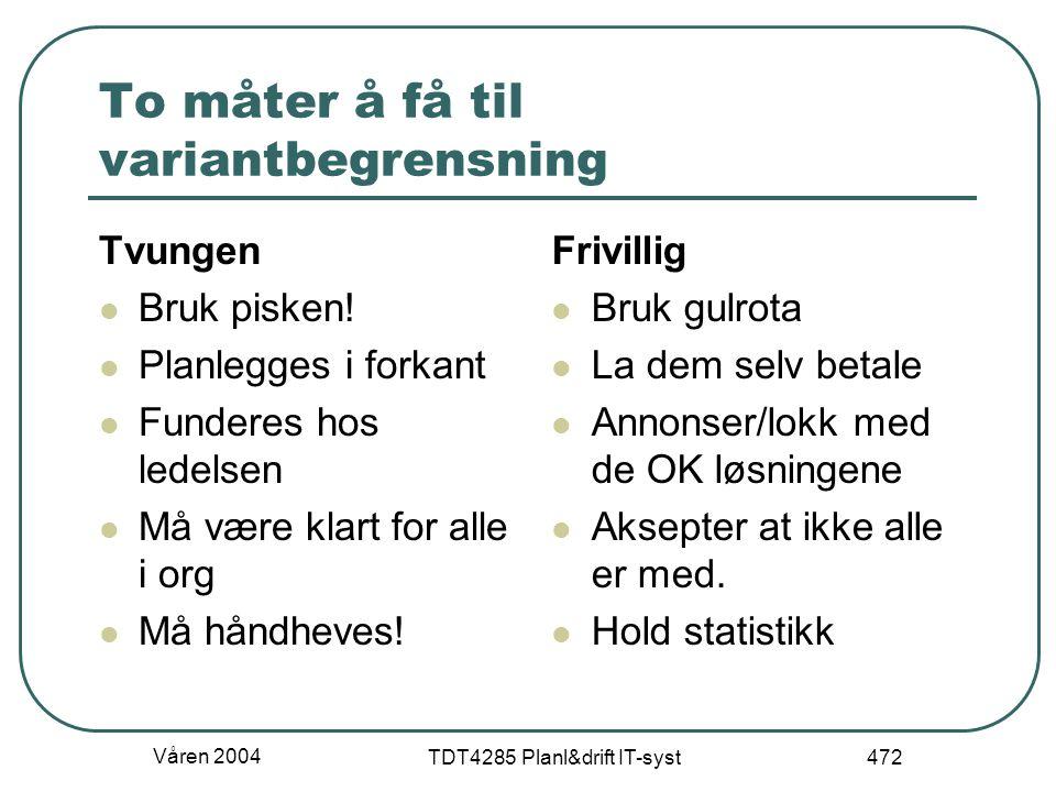 Våren 2004 TDT4285 Planl&drift IT-syst 472 To måter å få til variantbegrensning Tvungen Bruk pisken! Planlegges i forkant Funderes hos ledelsen Må vær