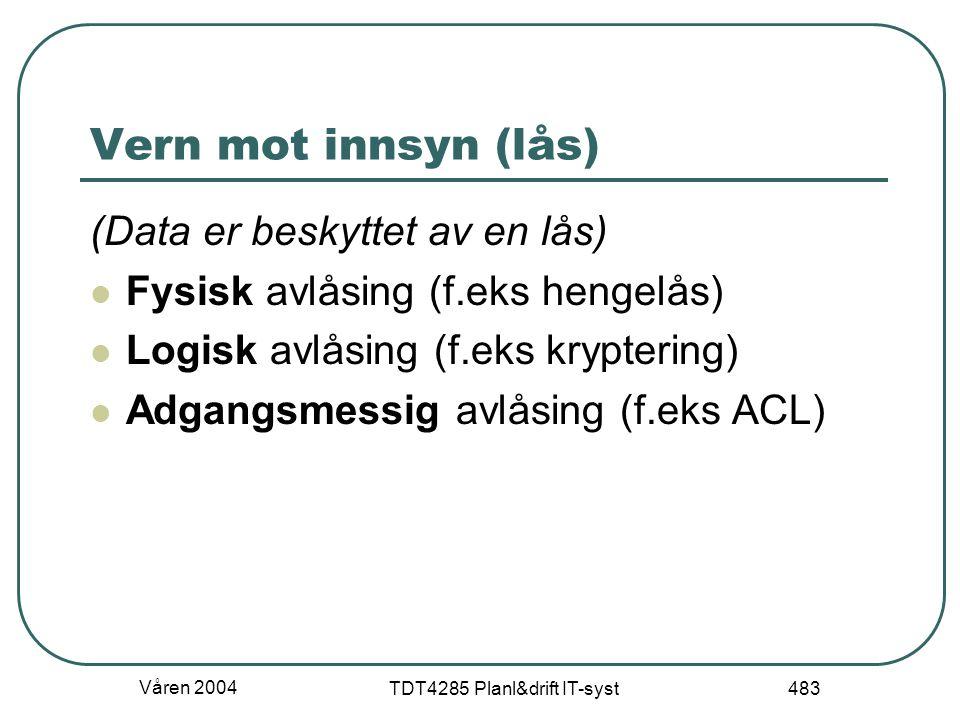 Våren 2004 TDT4285 Planl&drift IT-syst 483 Vern mot innsyn (lås) (Data er beskyttet av en lås) Fysisk avlåsing (f.eks hengelås) Logisk avlåsing (f.eks