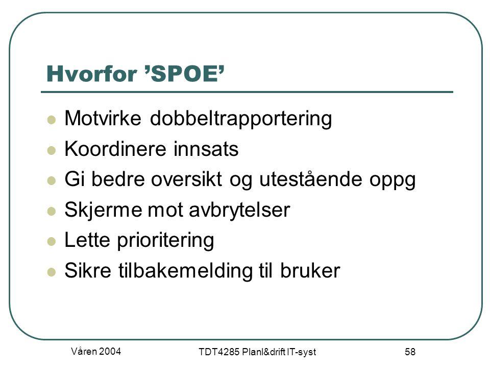 Våren 2004 TDT4285 Planl&drift IT-syst 58 Hvorfor 'SPOE' Motvirke dobbeltrapportering Koordinere innsats Gi bedre oversikt og utestående oppg Skjerme