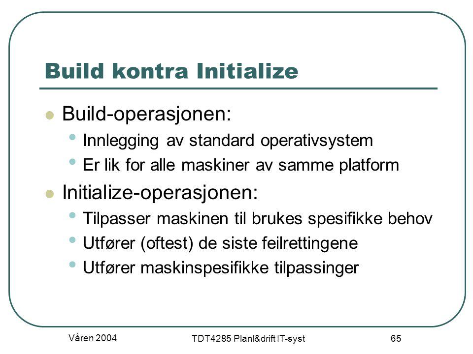 Våren 2004 TDT4285 Planl&drift IT-syst 65 Build kontra Initialize Build-operasjonen: Innlegging av standard operativsystem Er lik for alle maskiner av
