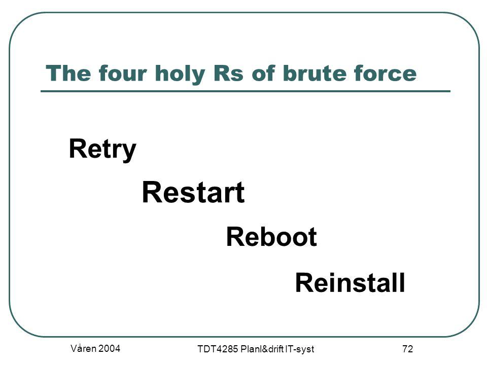 Våren 2004 TDT4285 Planl&drift IT-syst 72 The four holy Rs of brute force Retry Reboot Reinstall Restart