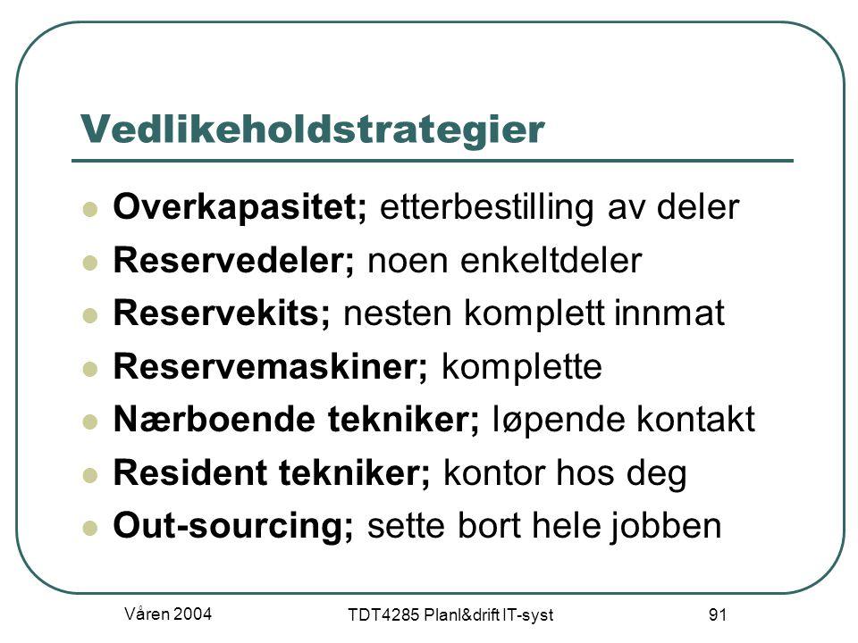 Våren 2004 TDT4285 Planl&drift IT-syst 91 Vedlikeholdstrategier Overkapasitet; etterbestilling av deler Reservedeler; noen enkeltdeler Reservekits; ne