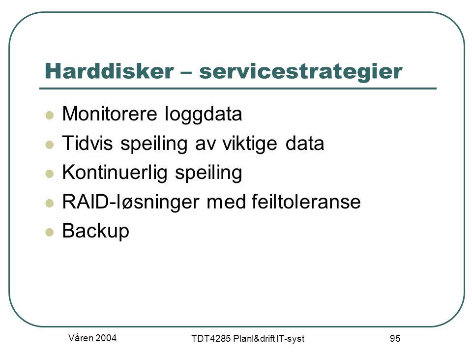 Våren 2004 TDT4285 Planl&drift IT-syst 95 Harddisker – servicestrategier Monitorere loggdata Tidvis speiling av viktige data Kontinuerlig speiling RAI