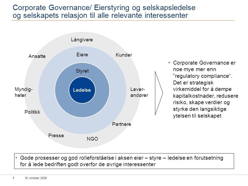 """15. oktober, 2008 4 Corporate Governance er noe mye mer enn """"regulatory compliance"""". Det er strategisk virkemiddel for å dempe kapitalkostnader, redus"""