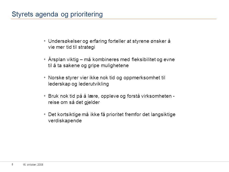 15. oktober, 2008 8 Styrets agenda og prioritering Undersøkelser og erfaring forteller at styrene ønsker å vie mer tid til strategi Årsplan viktig – m