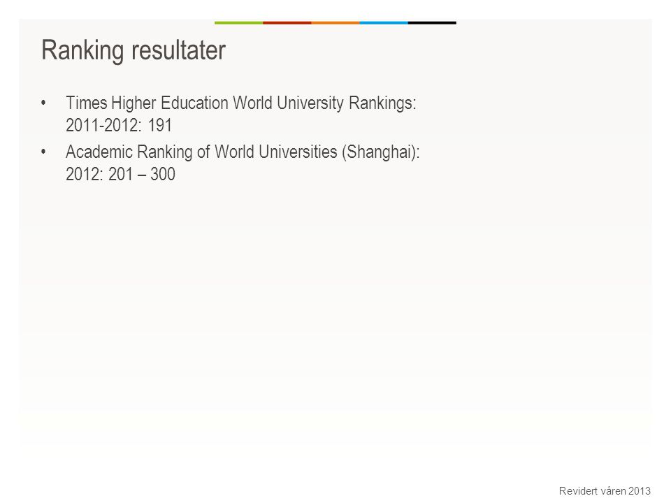 Ranking resultater Times Higher Education World University Rankings: 2011-2012: 191 Academic Ranking of World Universities (Shanghai): 2012: 201 – 300 Revidert våren 2013