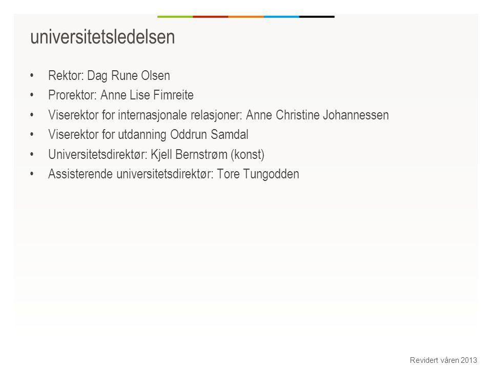 Markeds andeler for Universitetet i Bergen Revidert våren 2013