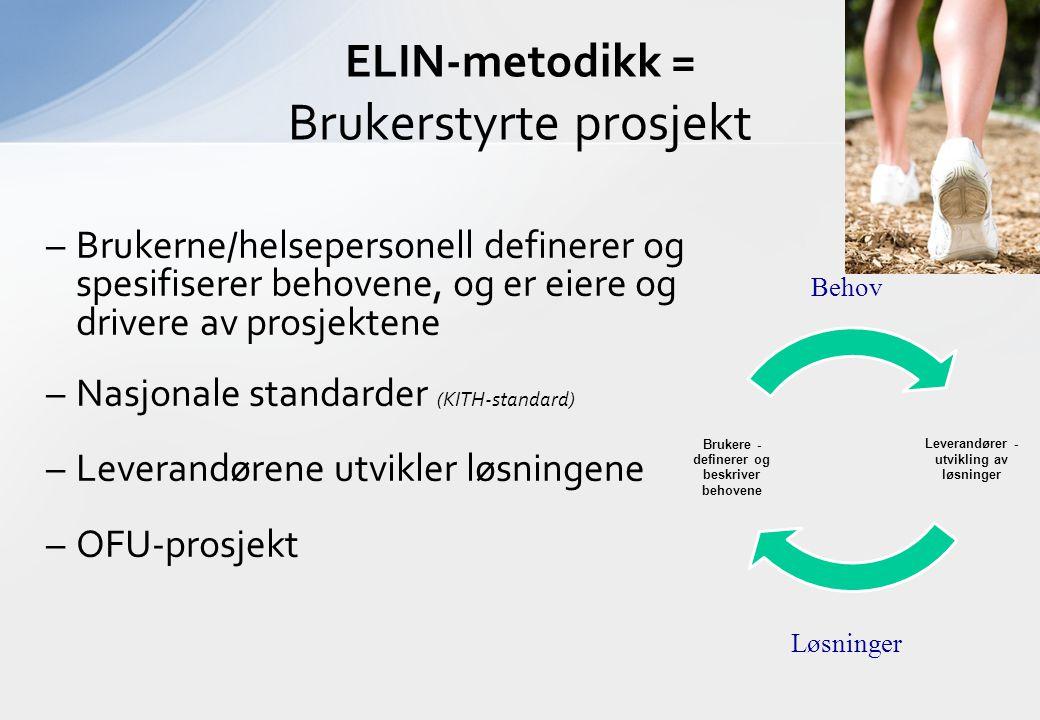 Behov Løsninger ELIN-metodikk = Brukerstyrte prosjekt –Brukerne/helsepersonell definerer og spesifiserer behovene, og er eiere og drivere av prosjektene –Nasjonale standarder (KITH-standard) –Leverandørene utvikler løsningene –OFU-prosjekt