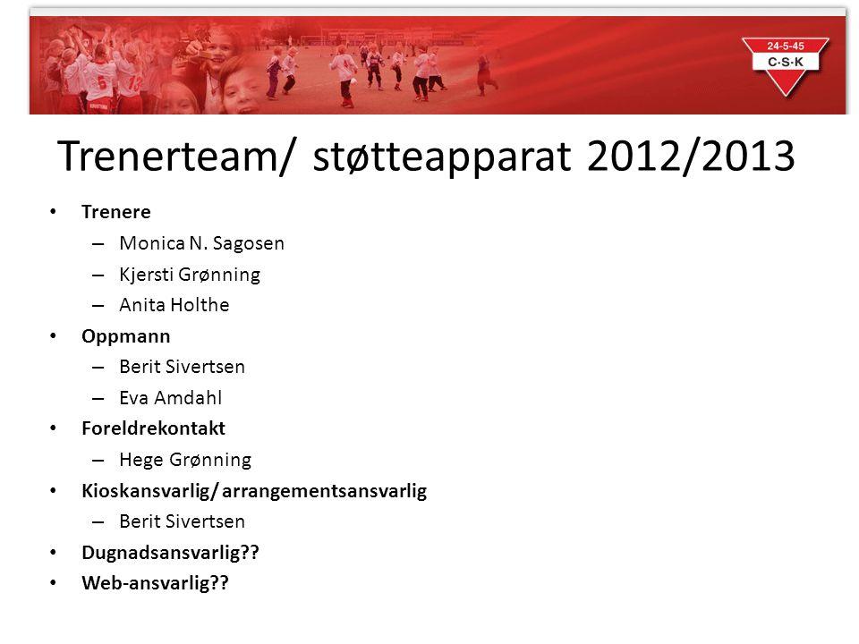 Trenerteam/ støtteapparat 2012/2013 Trenere – Monica N. Sagosen – Kjersti Grønning – Anita Holthe Oppmann – Berit Sivertsen – Eva Amdahl Foreldrekonta