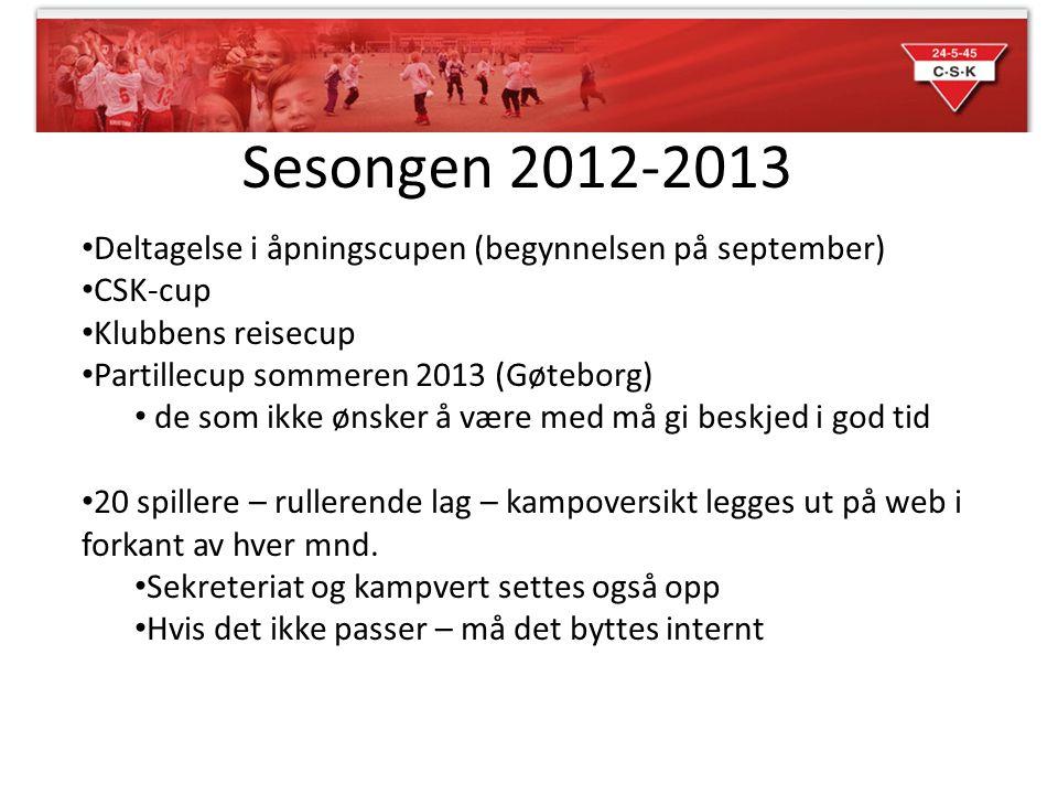 Sesongen 2012-2013 Deltagelse i åpningscupen (begynnelsen på september) CSK-cup Klubbens reisecup Partillecup sommeren 2013 (Gøteborg) de som ikke øns