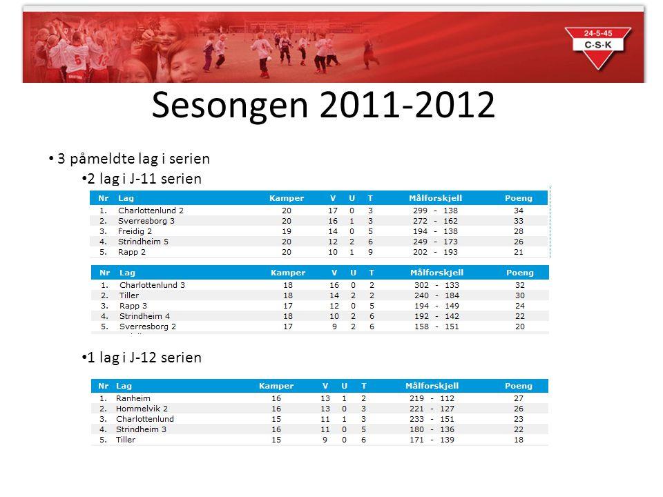 Sesongen 2011-2012 3 påmeldte lag i serien 2 lag i J-11 serien 1 lag i J-12 serien