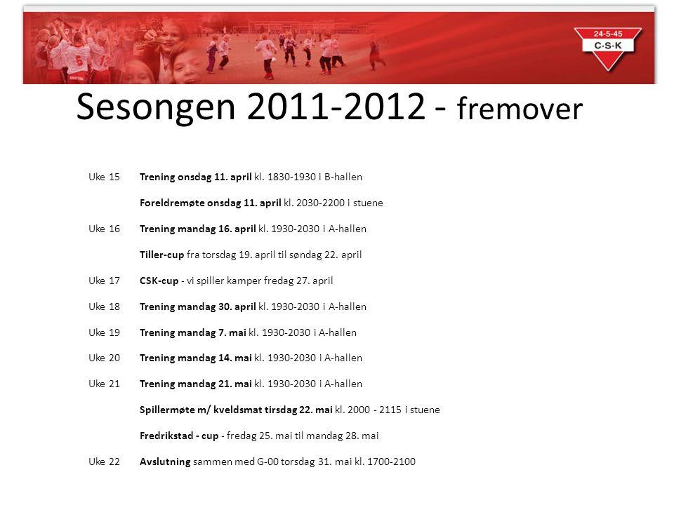 Sesongen 2011-2012 - fremover Uke 15Trening onsdag 11.