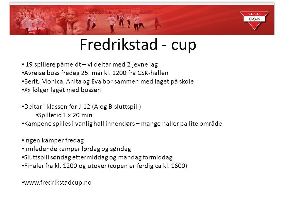 Fredrikstad - cup 19 spillere påmeldt – vi deltar med 2 jevne lag Avreise buss fredag 25. mai kl. 1200 fra CSK-hallen Berit, Monica, Anita og Eva bor