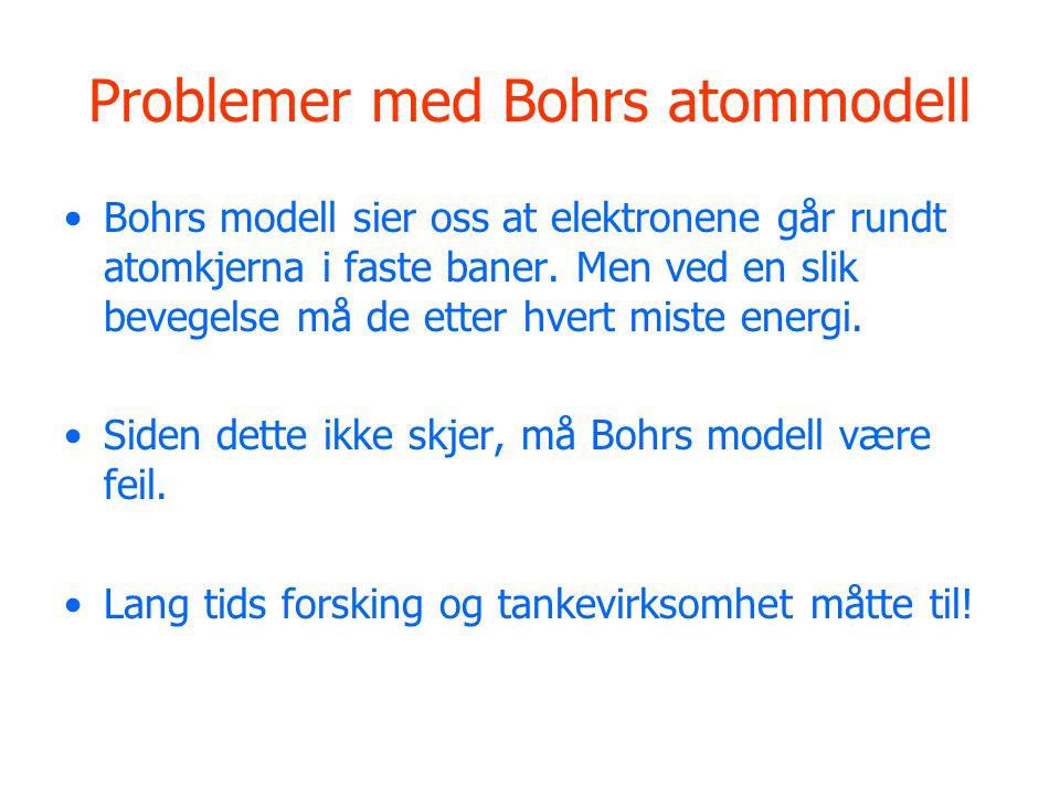 Problemer med Bohrs atommodell Bohrs modell sier oss at elektronene går rundt atomkjerna i faste baner.