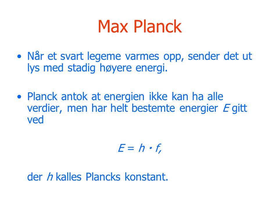 Max Planck Når et svart legeme varmes opp, sender det ut lys med stadig høyere energi.