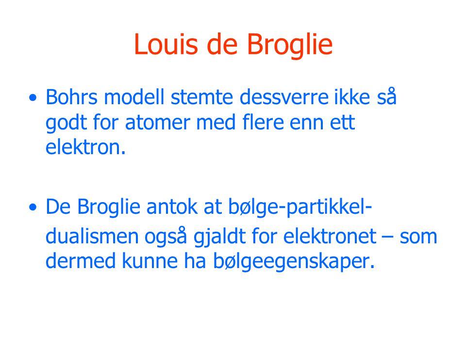 Louis de Broglie Bohrs modell stemte dessverre ikke så godt for atomer med flere enn ett elektron.