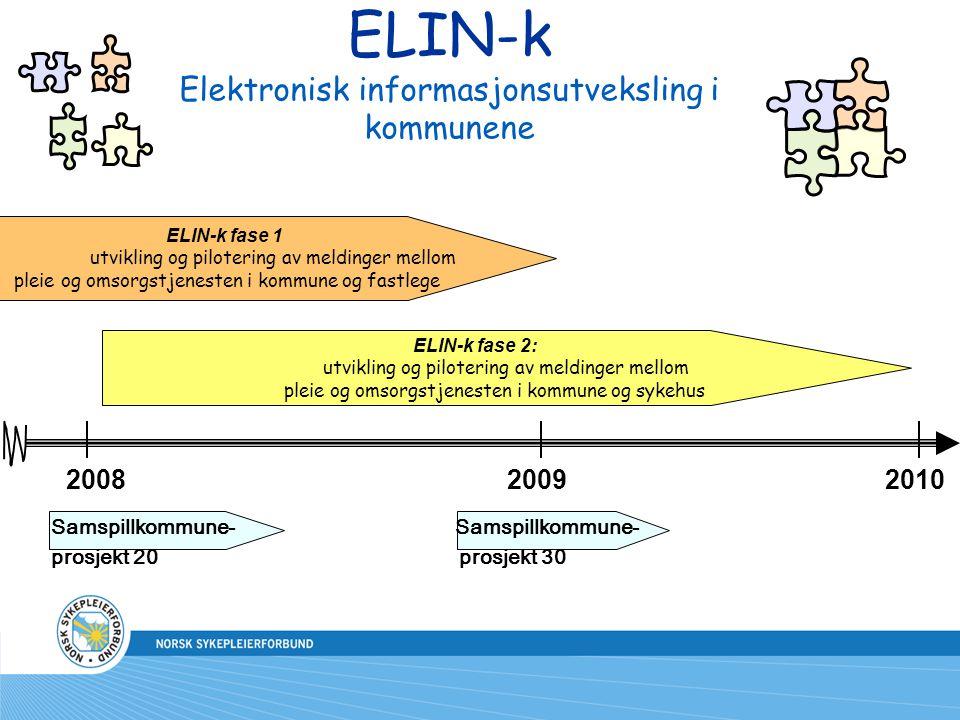 ELIN-k Elektronisk informasjonsutveksling i kommunene 20082009 ELIN-k fase 1 utvikling og pilotering av meldinger mellom pleie og omsorgstjenesten i k