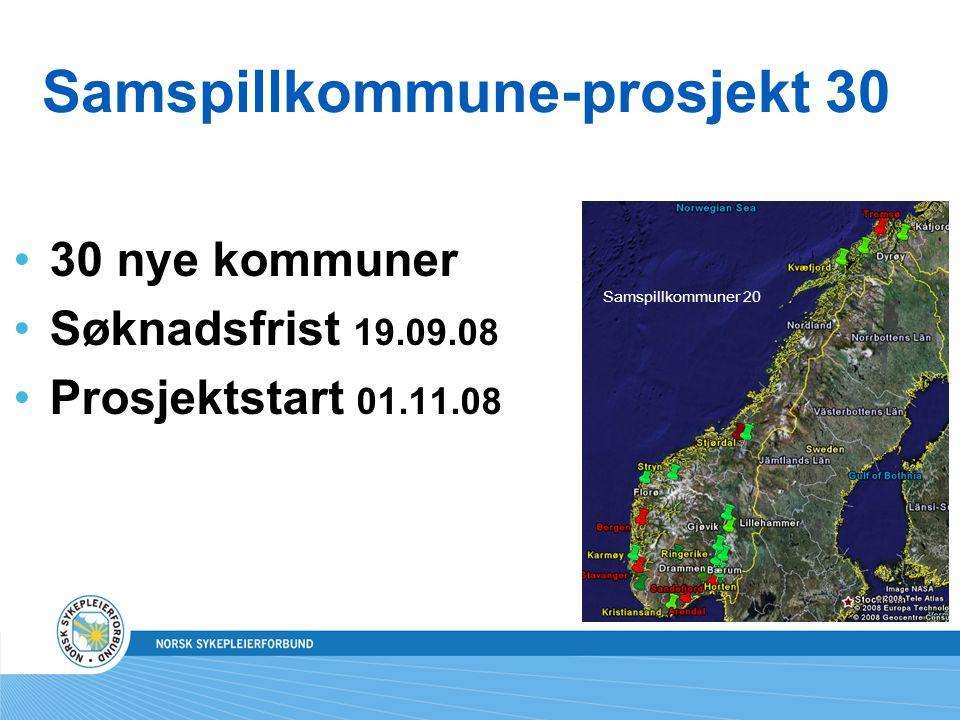 Samspillkommune-prosjekt 30 30 nye kommuner Søknadsfrist 19.09.08 Prosjektstart 01.11.08 Samspillkommuner 20