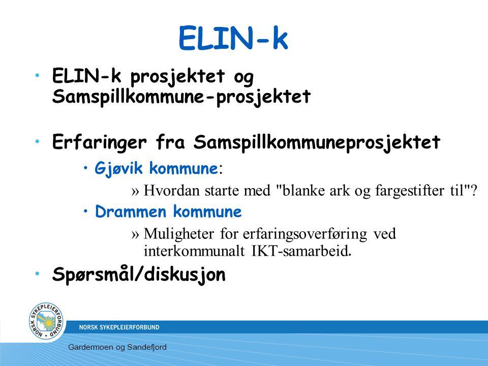 ELIN-k ELIN-k prosjektet og Samspillkommune-prosjektet Erfaringer fra Samspillkommuneprosjektet Gjøvik kommune : »Hvordan starte med blanke ark og fargestifter til .