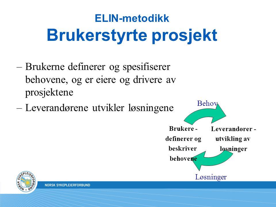 ELIN-metodikk Brukerstyrte prosjekt –Brukerne definerer og spesifiserer behovene, og er eiere og drivere av prosjektene –Leverandørene utvikler løsnin