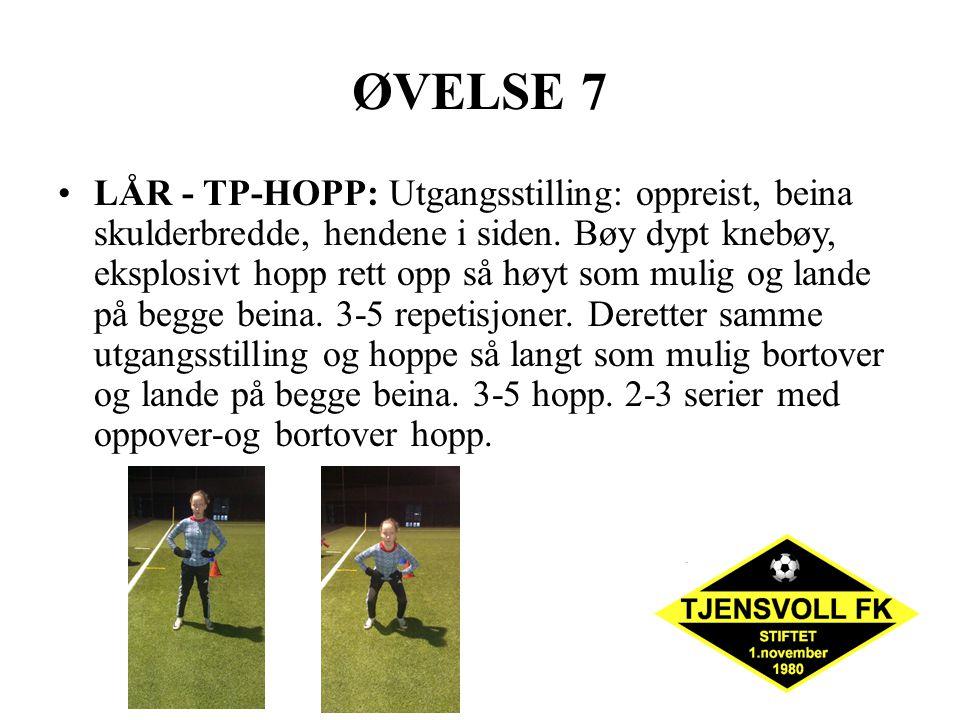 ØVELSE 7 LÅR - TP-HOPP: Utgangsstilling: oppreist, beina skulderbredde, hendene i siden. Bøy dypt knebøy, eksplosivt hopp rett opp så høyt som mulig o
