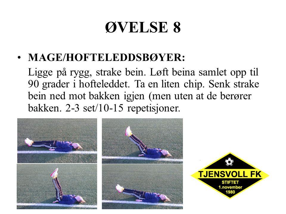 ØVELSE 8 MAGE/HOFTELEDDSBØYER: Ligge på rygg, strake bein. Løft beina samlet opp til 90 grader i hofteleddet. Ta en liten chip. Senk strake bein ned m