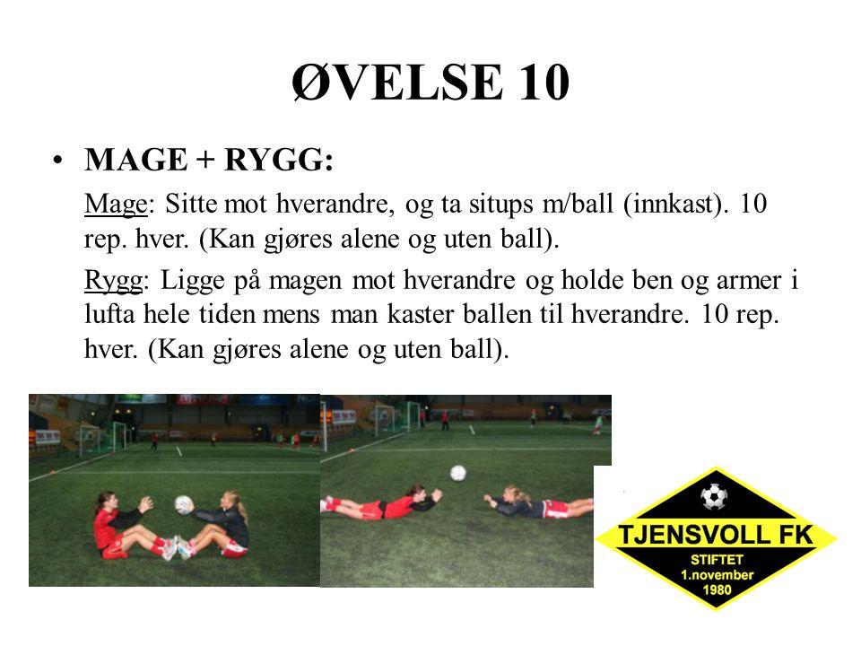 ØVELSE 10 MAGE + RYGG: Mage: Sitte mot hverandre, og ta situps m/ball (innkast). 10 rep. hver. (Kan gjøres alene og uten ball). Rygg: Ligge på magen m