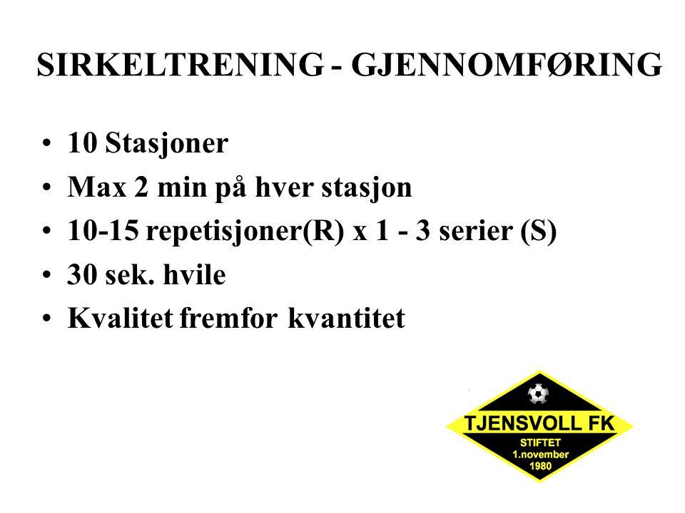 SIRKELTRENING - GJENNOMFØRING 10 Stasjoner Max 2 min på hver stasjon 10-15 repetisjoner(R) x 1 - 3 serier (S) 30 sek. hvile Kvalitet fremfor kvantitet