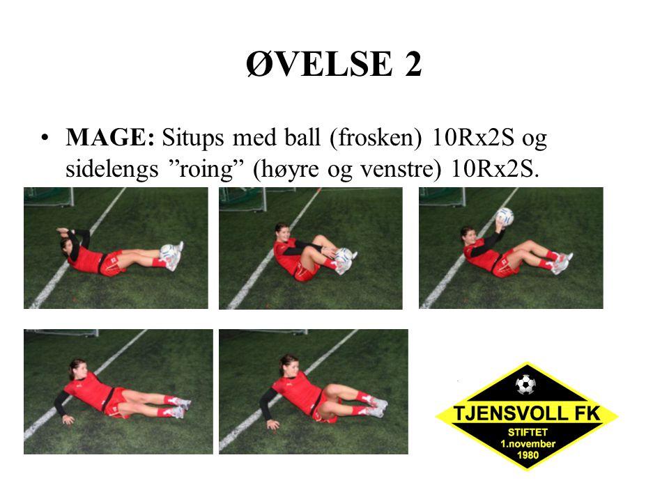 """ØVELSE 2 MAGE: Situps med ball (frosken) 10Rx2S og sidelengs """"roing"""" (høyre og venstre) 10Rx2S."""