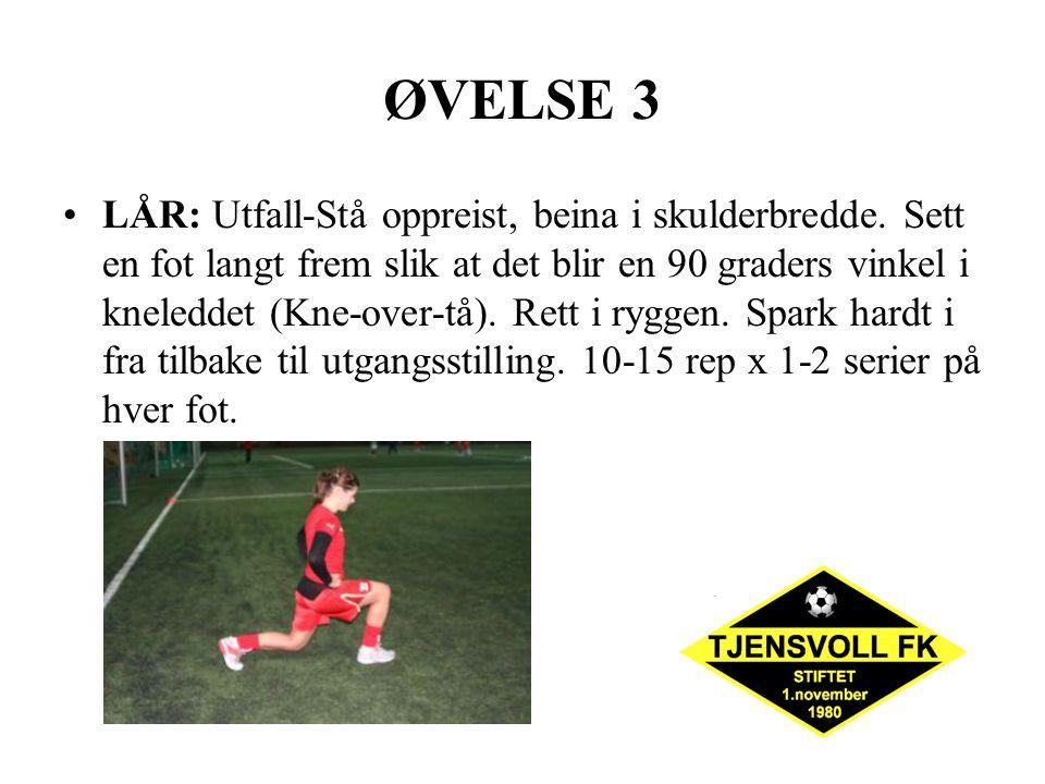 ØVELSE 3 LÅR: Utfall-Stå oppreist, beina i skulderbredde. Sett en fot langt frem slik at det blir en 90 graders vinkel i kneleddet (Kne-over-tå). Rett