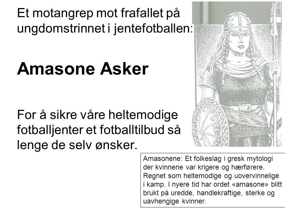 Et motangrep mot frafallet på ungdomstrinnet i jentefotballen: Amasone Asker For å sikre våre heltemodige fotballjenter et fotballtilbud så lenge de selv ønsker.