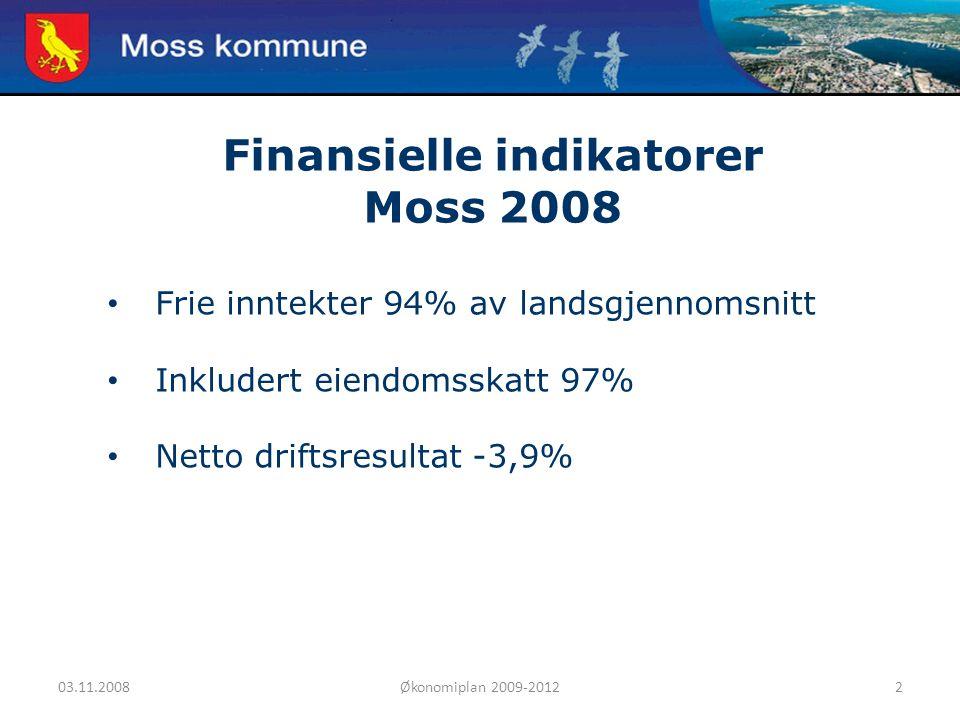 03.11.2008Økonomiplan 2009-20122 Moss kommune Finansielle indikatorer Moss 2008 Frie inntekter 94% av landsgjennomsnitt Inkludert eiendomsskatt 97% Netto driftsresultat -3,9%