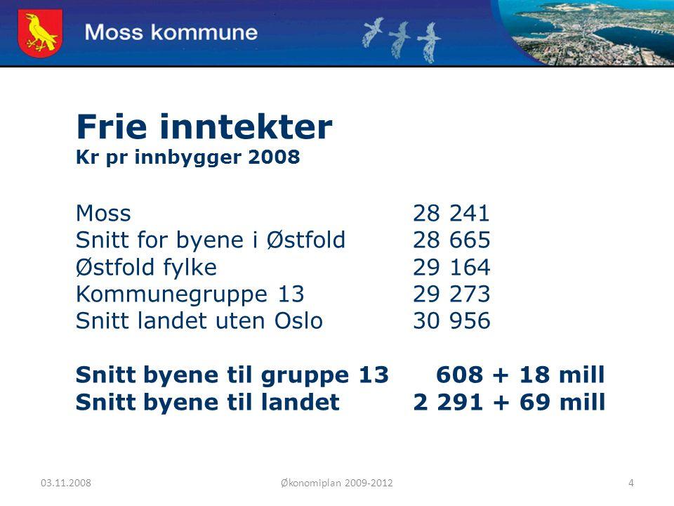03.11.2008Økonomiplan 2009-20124 Moss kommune Frie inntekter Kr pr innbygger 2008 Moss28 241 Snitt for byene i Østfold28 665 Østfold fylke29 164 Kommu