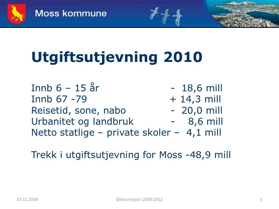 03.11.2008Økonomiplan 2009-20125 Moss kommune Utgiftsutjevning 2010 Innb 6 – 15 år- 18,6 mill Innb 67 -79 + 14,3 mill Reisetid, sone, nabo- 20,0 mill