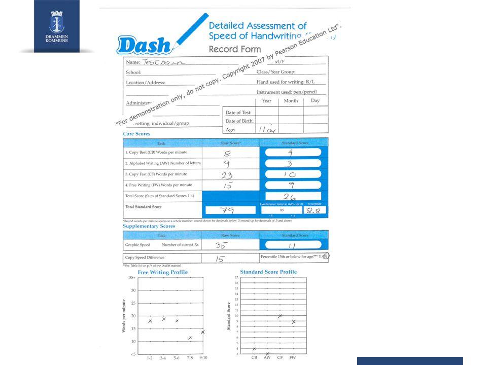 Vårt ønske Standardisere DASH på norske barn Dele erfaringer i bruk av denne testen Kontaktinformasjon: Kirsti Cartner, e-post: kirsti.cartner@drmk.nokirsti.cartner@drmk.no Aase Brit Kjeldstad, e-post: aase.brit.kjeldstad@drmk.noaase.brit.kjeldstad@drmk.no Forskning hvor DASH brukes