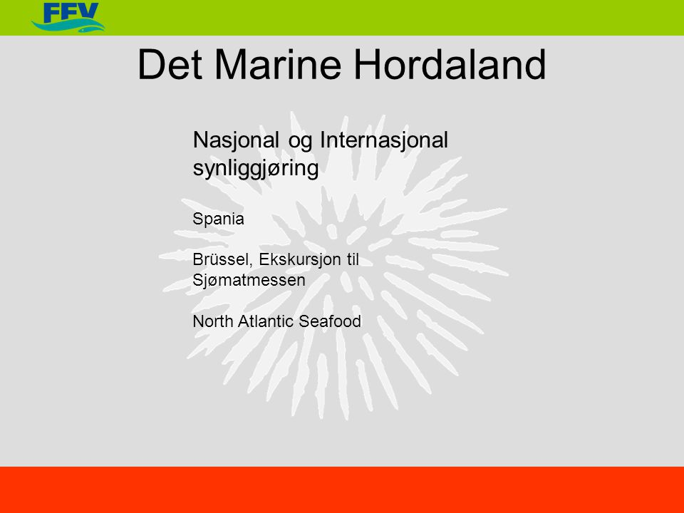 Det Marine Hordaland Nasjonal og Internasjonal synliggjøring Spania Brüssel, Ekskursjon til Sjømatmessen North Atlantic Seafood