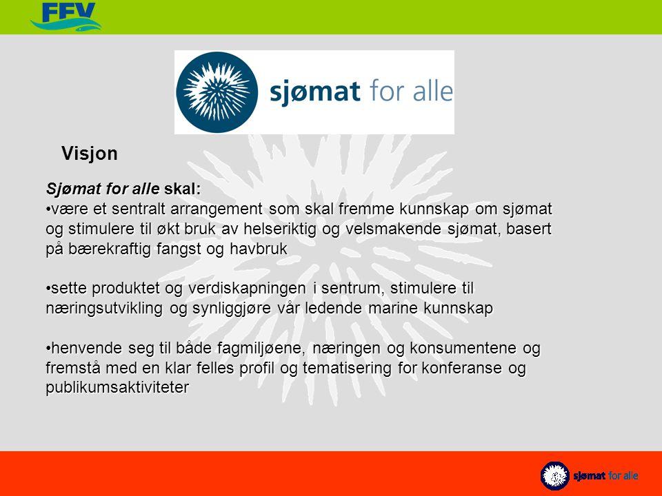 Sjømat for alle skal: være et sentralt arrangement som skal fremme kunnskap om sjømat og stimulere til økt bruk av helseriktig og velsmakende sjømat, basert på bærekraftig fangst og havbrukvære et sentralt arrangement som skal fremme kunnskap om sjømat og stimulere til økt bruk av helseriktig og velsmakende sjømat, basert på bærekraftig fangst og havbruk sette produktet og verdiskapningen i sentrum, stimulere til næringsutvikling og synliggjøre vår ledende marine kunnskapsette produktet og verdiskapningen i sentrum, stimulere til næringsutvikling og synliggjøre vår ledende marine kunnskap henvende seg til både fagmiljøene, næringen og konsumentene og fremstå med en klar felles profil og tematisering for konferanse og publikumsaktiviteterhenvende seg til både fagmiljøene, næringen og konsumentene og fremstå med en klar felles profil og tematisering for konferanse og publikumsaktiviteter Visjon