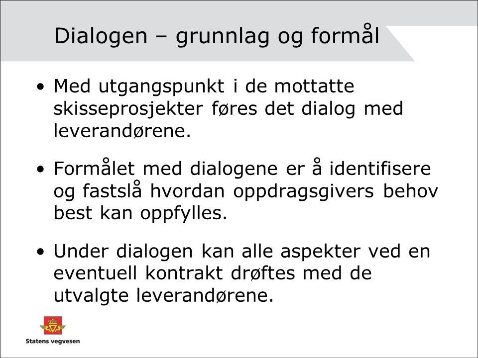 Dialogen – grunnlag og formål Med utgangspunkt i de mottatte skisseprosjekter føres det dialog med leverandørene. Formålet med dialogene er å identifi