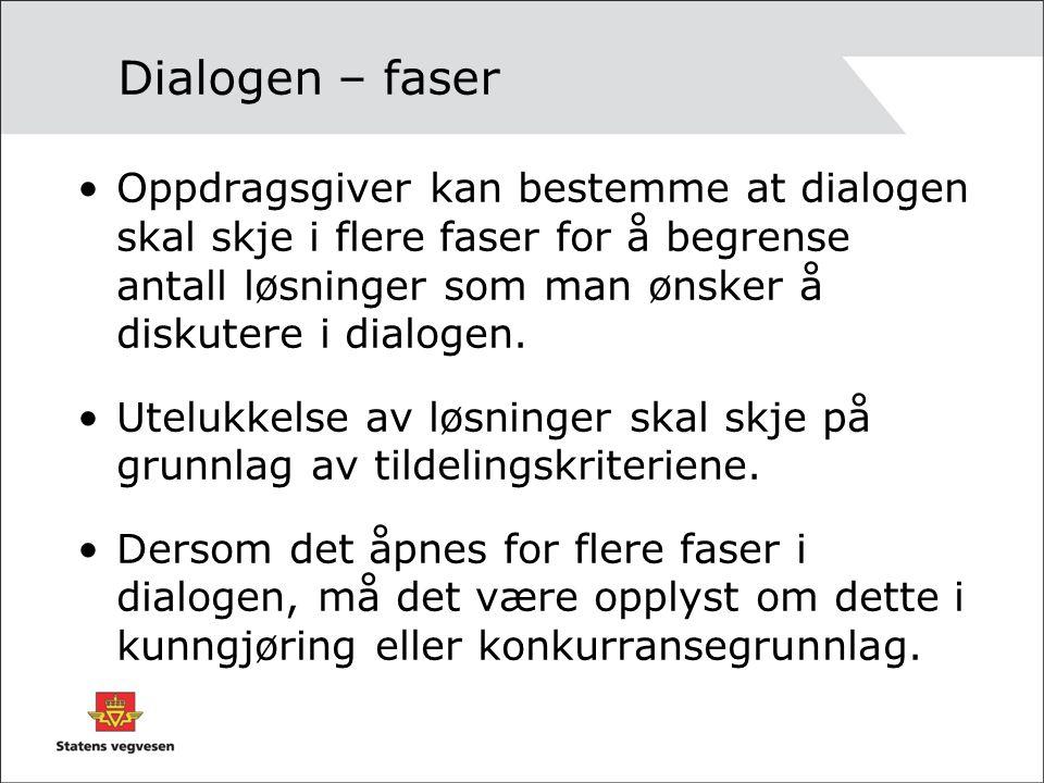 Dialogen – faser Oppdragsgiver kan bestemme at dialogen skal skje i flere faser for å begrense antall løsninger som man ønsker å diskutere i dialogen.