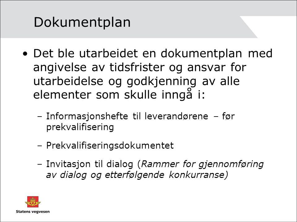 Dokumentplan Det ble utarbeidet en dokumentplan med angivelse av tidsfrister og ansvar for utarbeidelse og godkjenning av alle elementer som skulle in