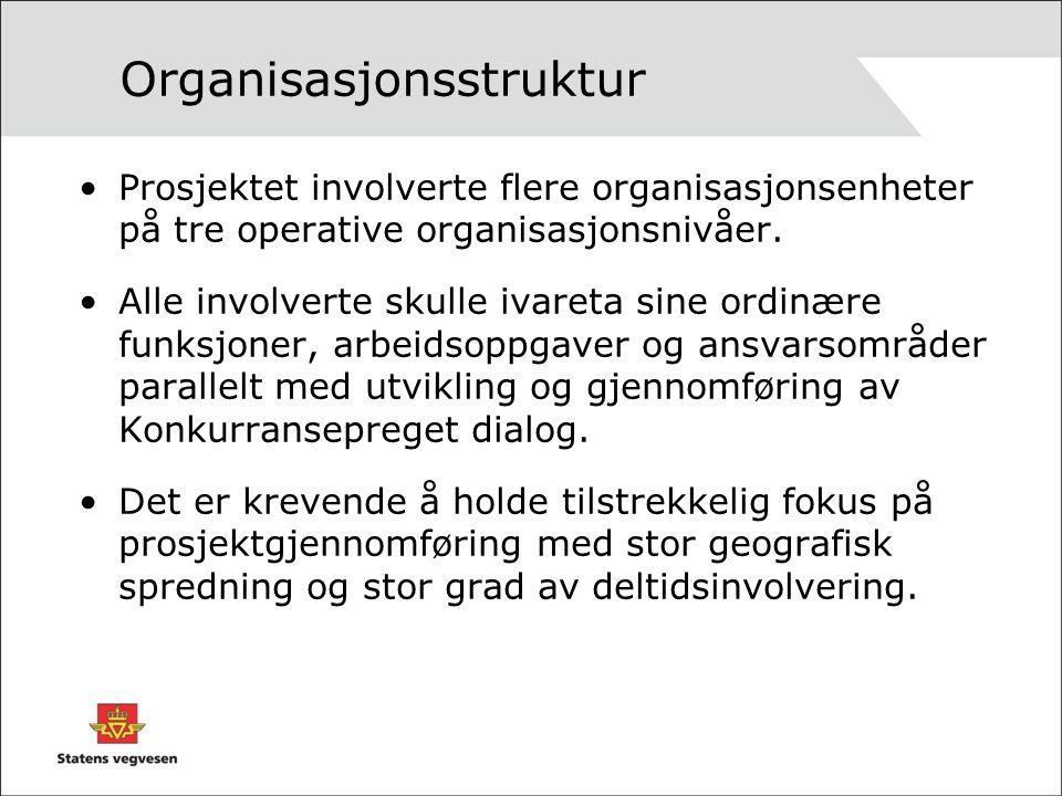Organisasjonsstruktur Prosjektet involverte flere organisasjonsenheter på tre operative organisasjonsnivåer. Alle involverte skulle ivareta sine ordin