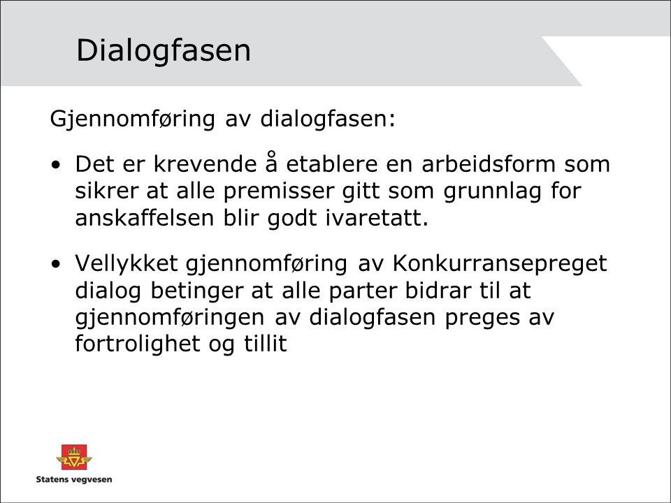 Dialogfasen Gjennomføring av dialogfasen: Det er krevende å etablere en arbeidsform som sikrer at alle premisser gitt som grunnlag for anskaffelsen bl