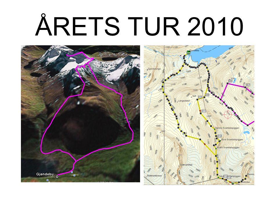 ÅRETS TUR 2010 Fredag: –Nordre Svartdalspiggen (2137m) –Store Svartdalspiggen (2165m) –Søre Svartdalspiggen (2065) –(Søre Svartdalspiggen (2065m)) –(L
