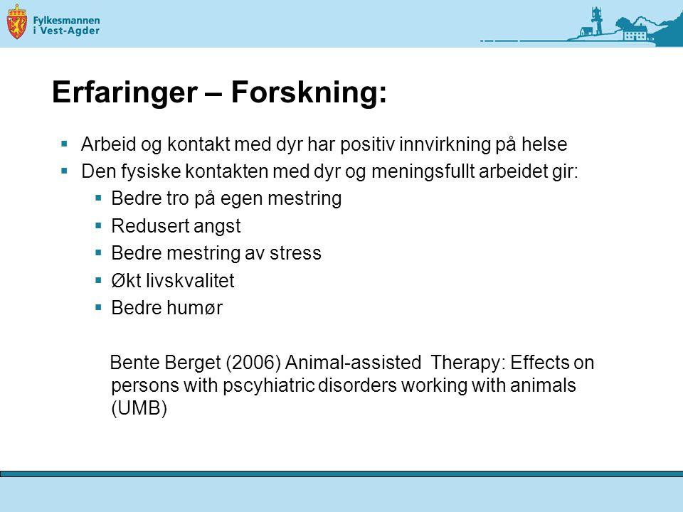 Mental Health Promotion by Recovery Oriented Green Care Services (Ragnfrid Kogstad, 3-årig forskningsprosjekt ved HiH)  Et hovedfunn er at å jobbe med dyr og praktiske arb.oppg.